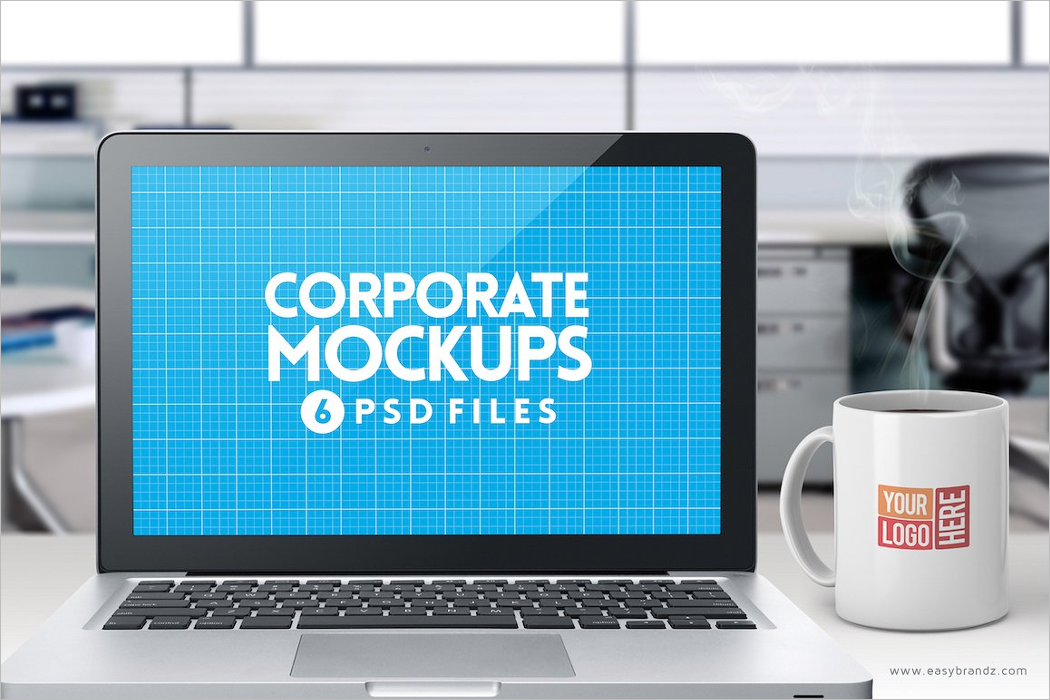 Flat Laptop Mockup Design