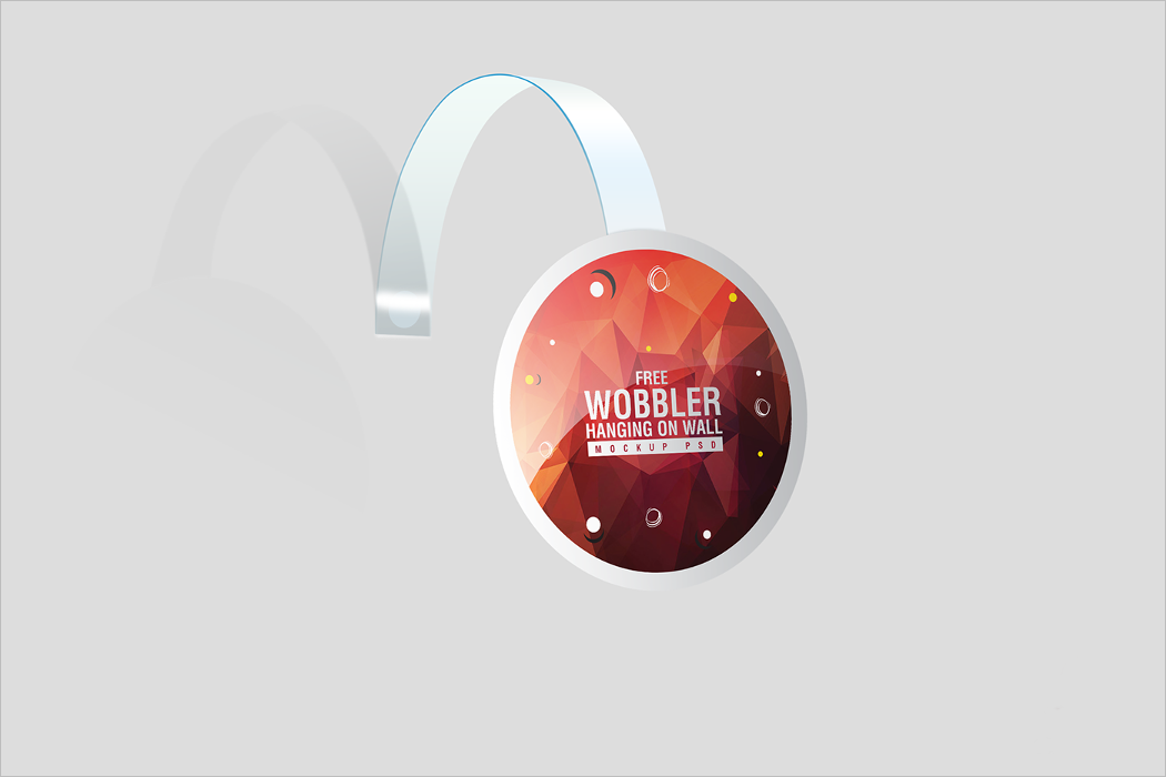 Free Wobbler Hanging on Wall Mockup