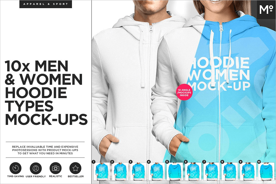Women & Men Hoodie Mockup Template