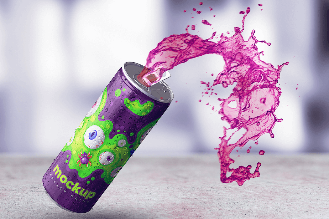 3D Energy Drink Can Mockup Free