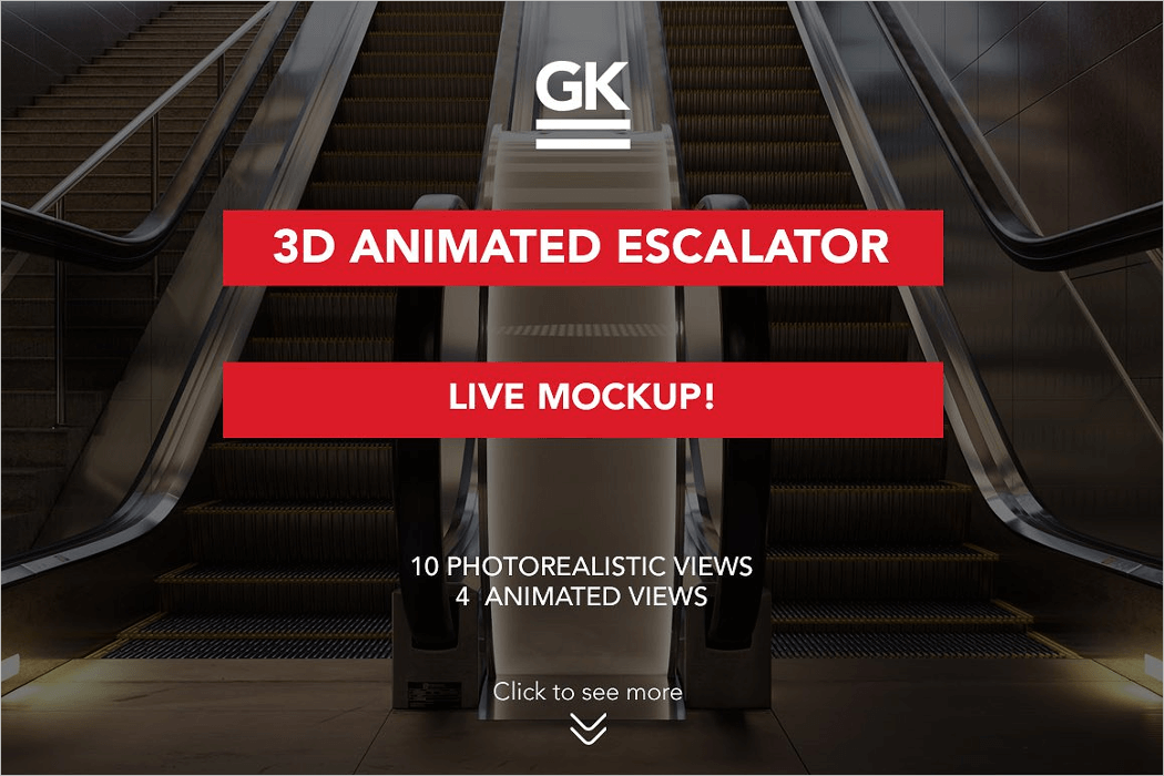 3d Escalator Mockup