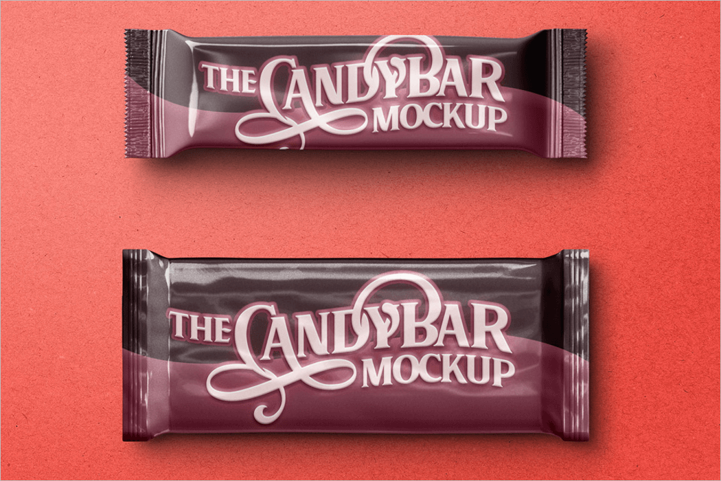 Candy Bar Packaging 3D Mockup