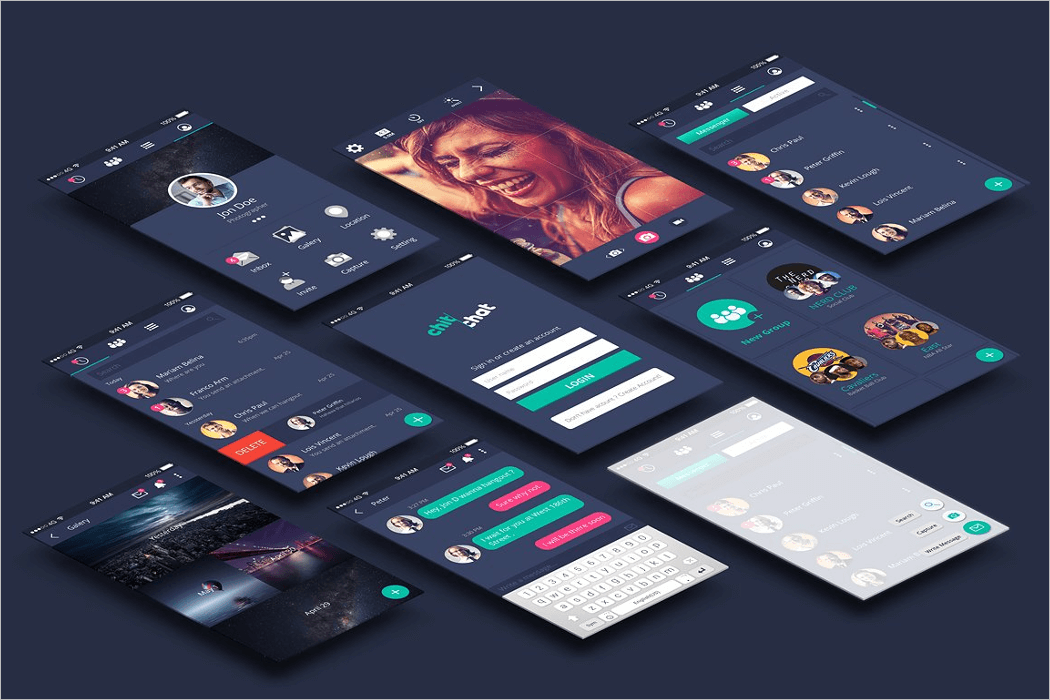 Chatting UI App Mockup Design