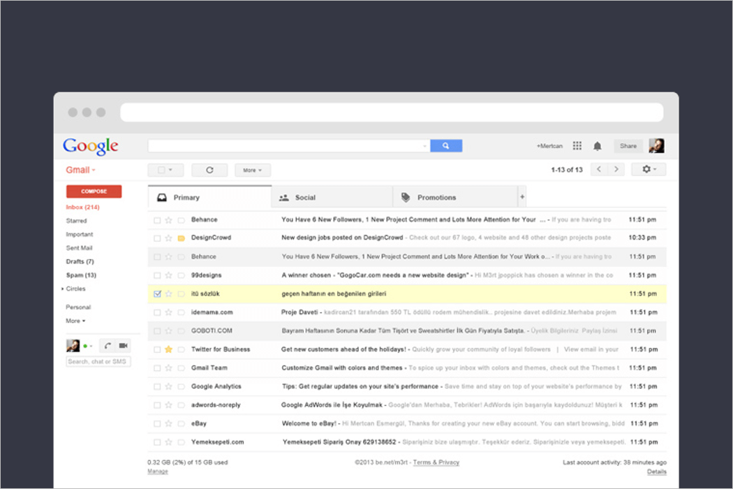 Gmail UI Mockup Design