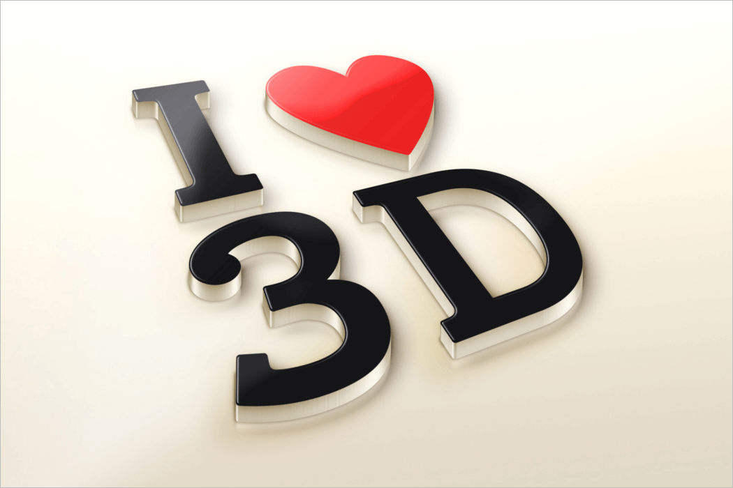 Love 3D Logo Mockup Design