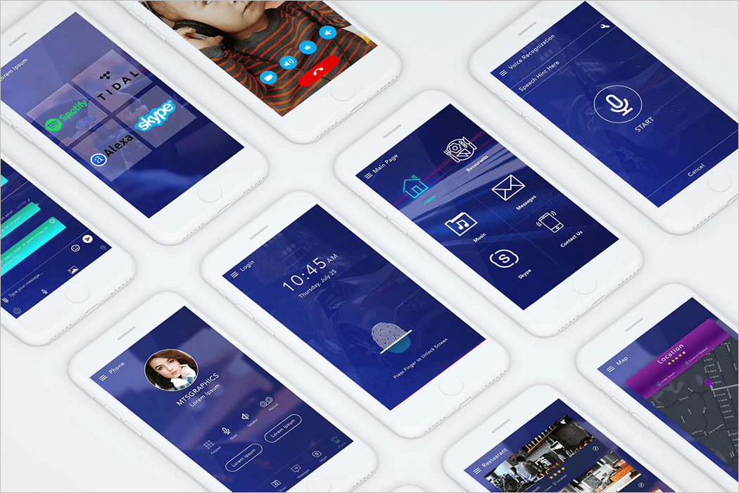 Mobile App UI Kit Mockup