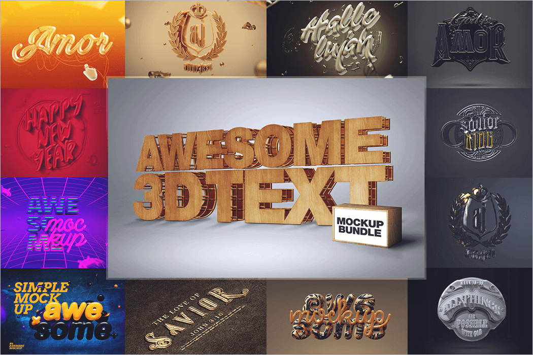 3D Text Mockup Photoshop