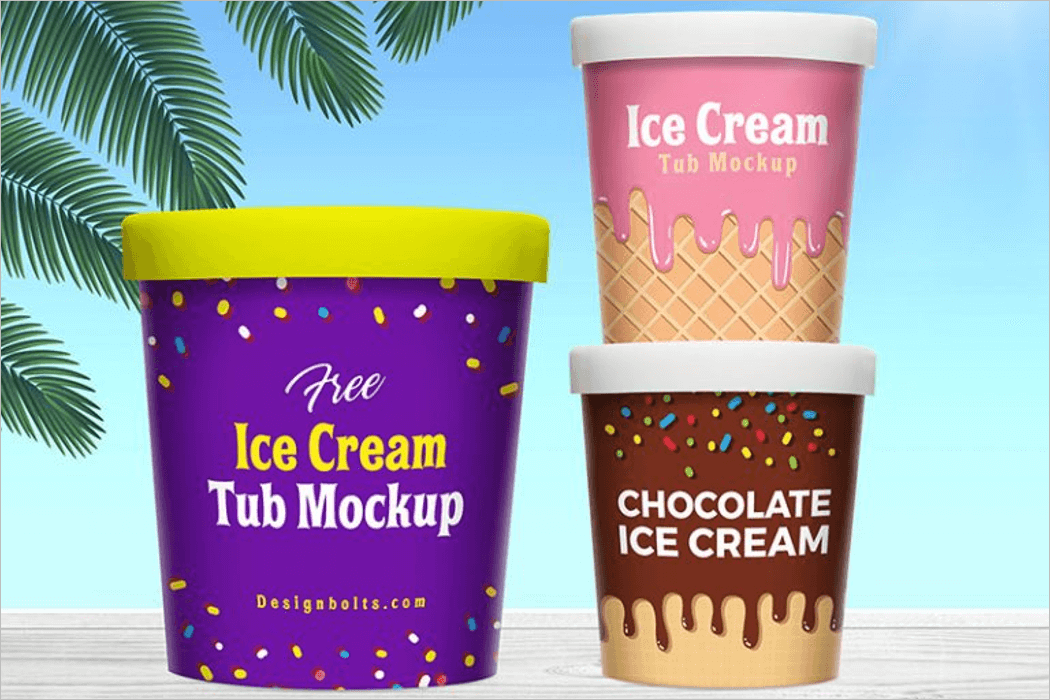 Ice Cream Bucket Mockup Template