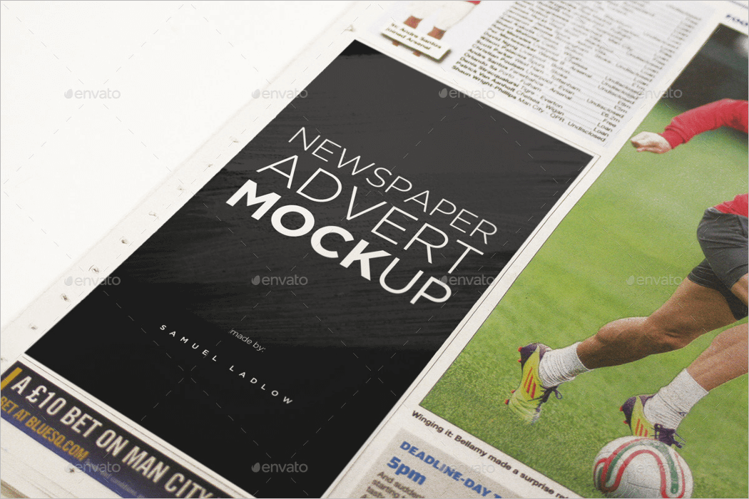 Newspaper Ad Mockup PSD