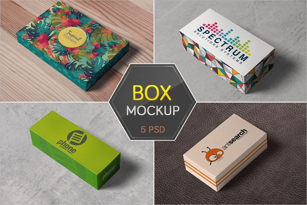 Set of Packaging Box Mockup