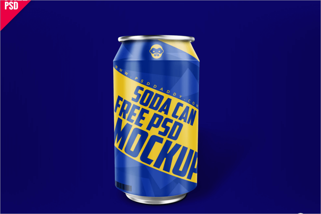 Soda Can Mockup PSD Free