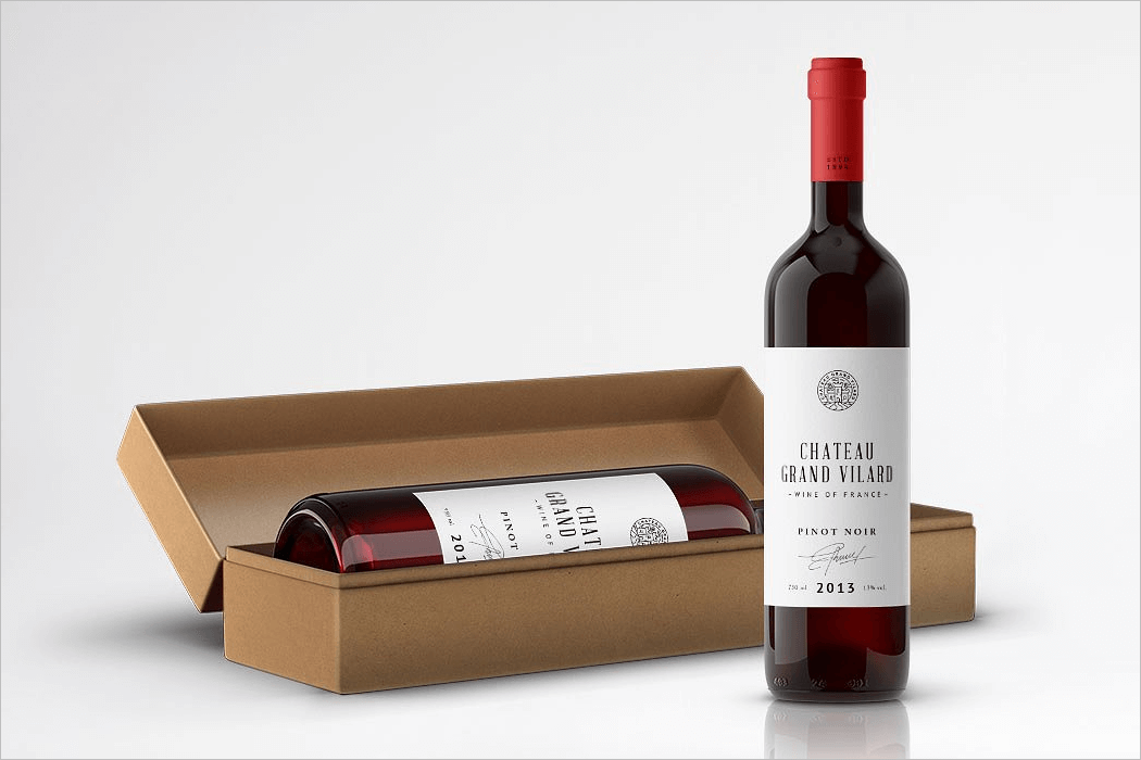Wine Bottle Packaging Mockup