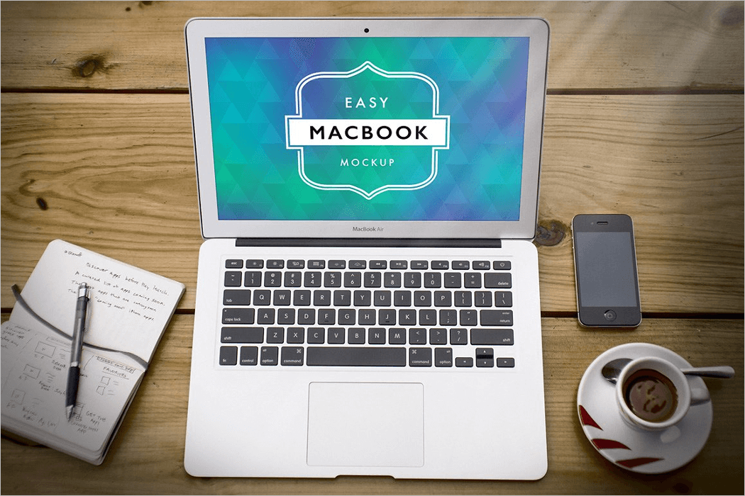 Flat Macbook Mockup