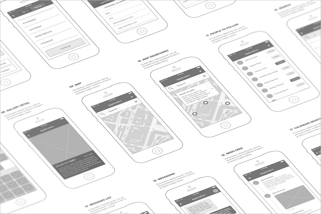Mobile Wireframe Mockup Template