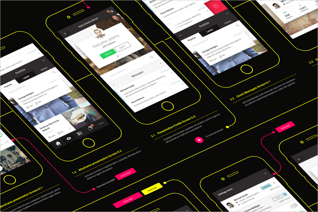 Perspective App Wireframe Mockup PSD