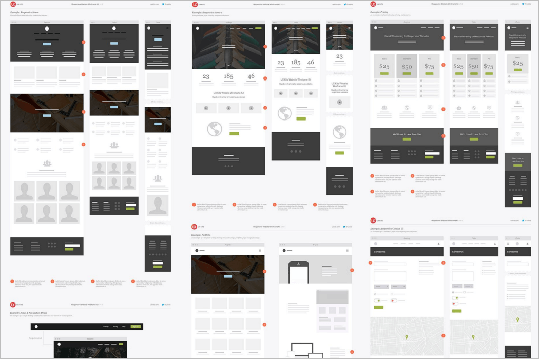 Responsive Website Wireframe Mockup