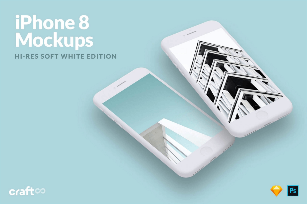White iPhone 8 Mockup PSD