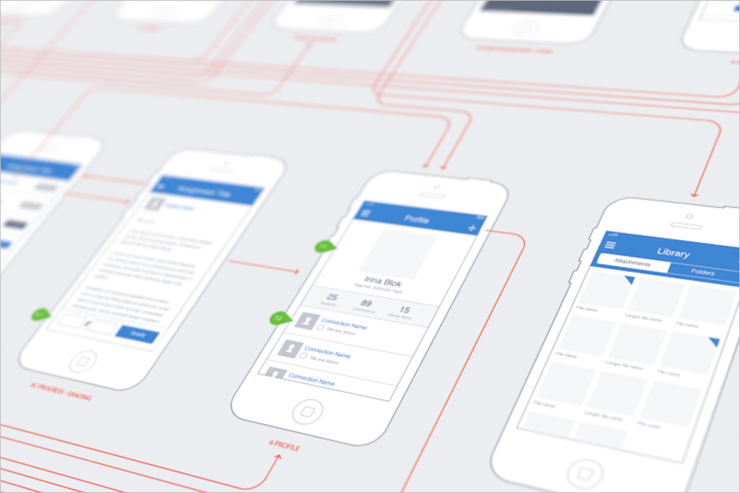 iPhone Wireframe Mockup Free PSD